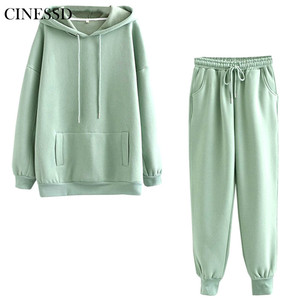 CINESSD 2020 popular autumn and winter thick wool casual streetwear suit large female pocket solid color sports suit