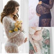 Kadın v yaka elbise dantel annelik Maxi elbiseler fantezi çekim fotoğraf hamile kadınlar elbiseler fotoğraf sahne hamile giyim