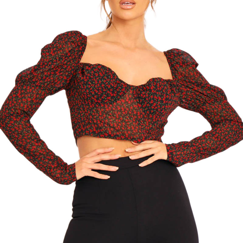 Women's Floral Long Puff Sleevess Blouses New Sexy Short Loose Tops Wear Female Square Collar Casual Autumn Pullovers Shirts Hot