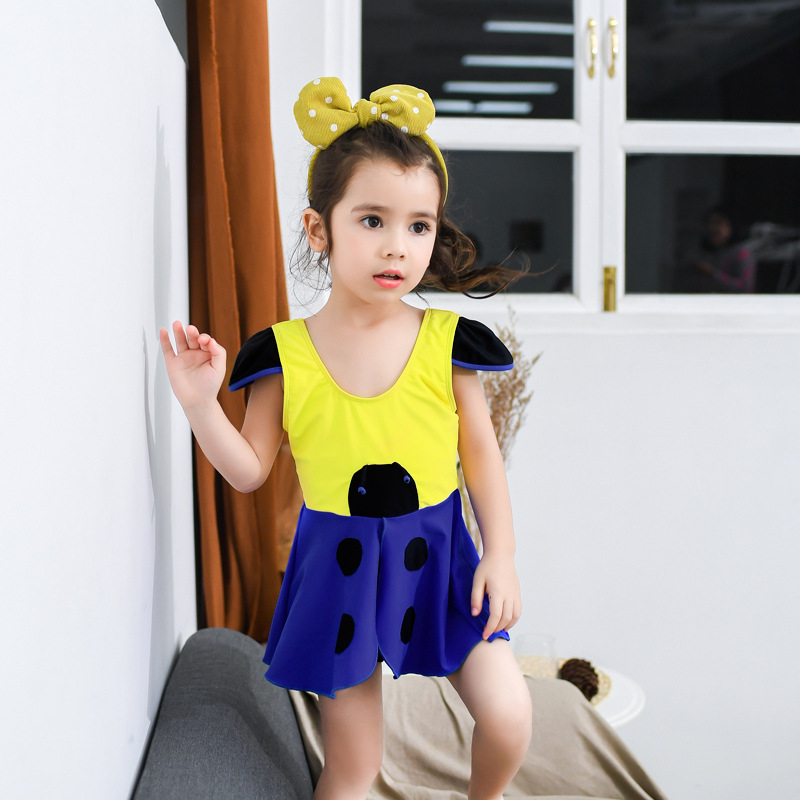 New Style South Korea One-piece Swimsuit For Children Cute Cartoon Small Bee Infants Baby Girls Dress-Tour Bathing Suit