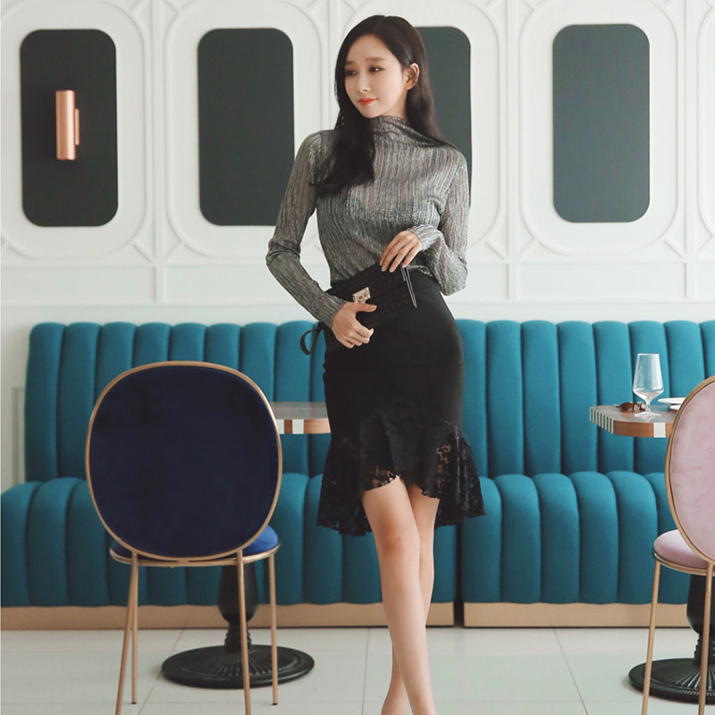 2019 Autumn New Style Korean-style Elegant WOMEN'S Dress Liangsi Micro Transparent Tops + High-waisted Fishtail Skirt Set