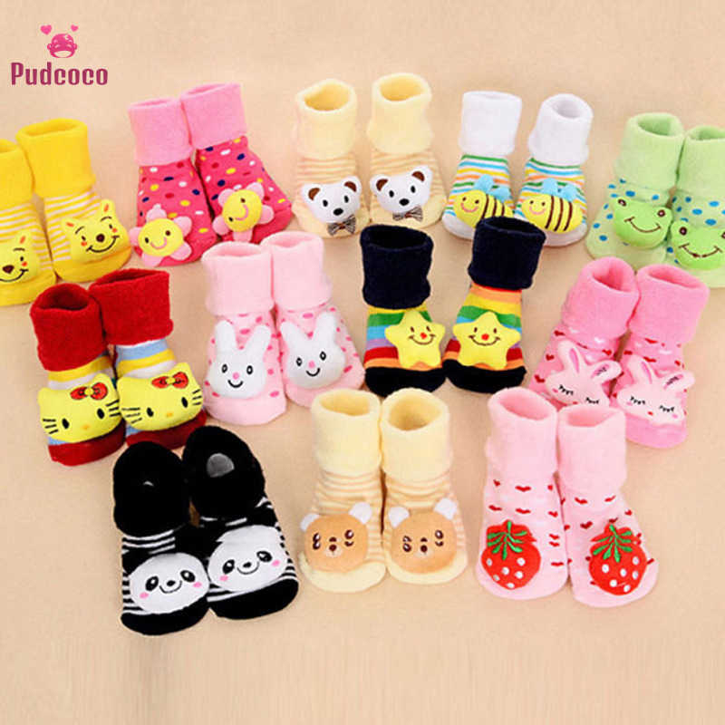 Pudcoco Baby Socks Winter Animal Lovely Cartoon Baby Socks Shoes Cotton Newborn Booties Unisex Toddlers Kids Boots First Walker