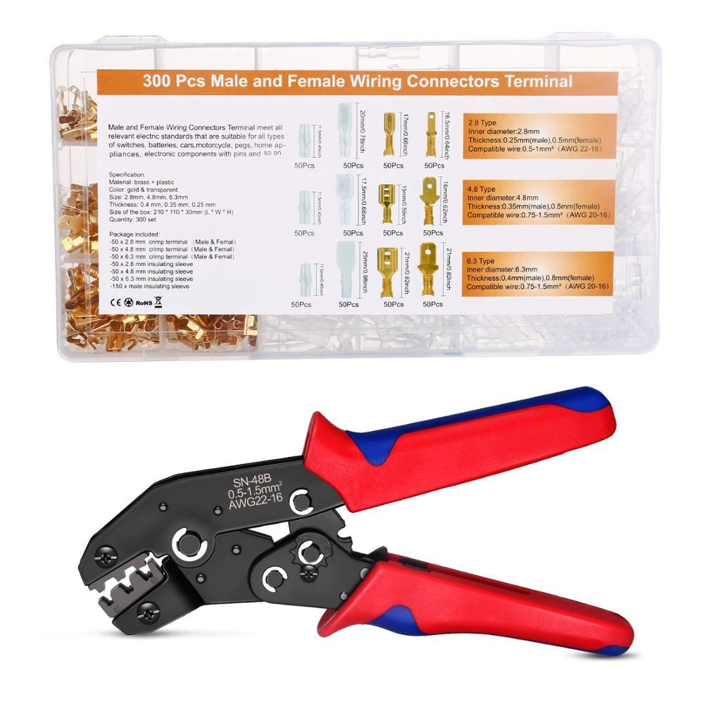 Sn-48b Crimping Tool 600 Pcs 4.8/6.3 Plug Terminal Crimper Crimping Pliers Wire 0.5-1.5mm2 Alicate AWG 20-15 Hand Tool Krimptang