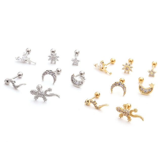 1pcs Gold Silver Body Jewelry Moon Star Fairy Leech Lizard Steel Barbell Zircon Tragus Cartilage Helix.jpg 640x640 - 1pcs Gold Silver Body Jewelry Moon Star Fairy Leech Lizard Steel Barbell Zircon Tragus Cartilage Helix Rook Piercing Earring