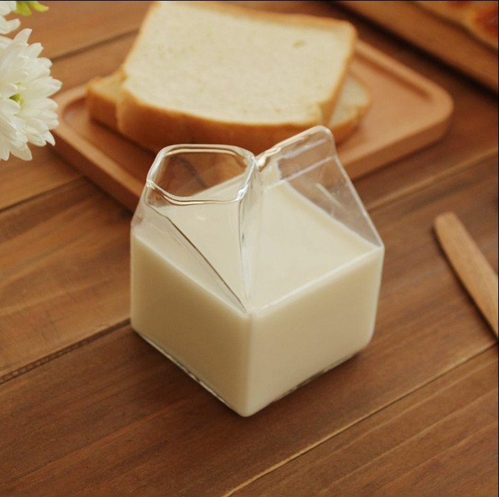 275ml Glass Cup Milk Box Coffee Cups Creative Juice Bottle Clear Gift