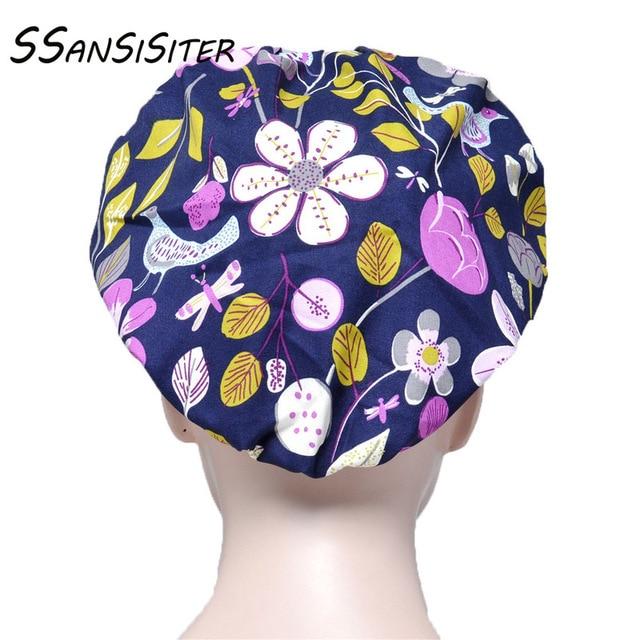 Femmes gommage casquettes ensembles fleur imprimé coton bandeau Bouffant chapeaux Salon de beauté animalerie casquette de travail réglable soins infirmiers chapeaux