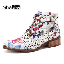 Купить с кэшбэком Women Ankle Boots Low Heels Flower Pattern Flats Casual Boots Woman Oxfords Lace-Up Motorcycle Booties Plus Size 43