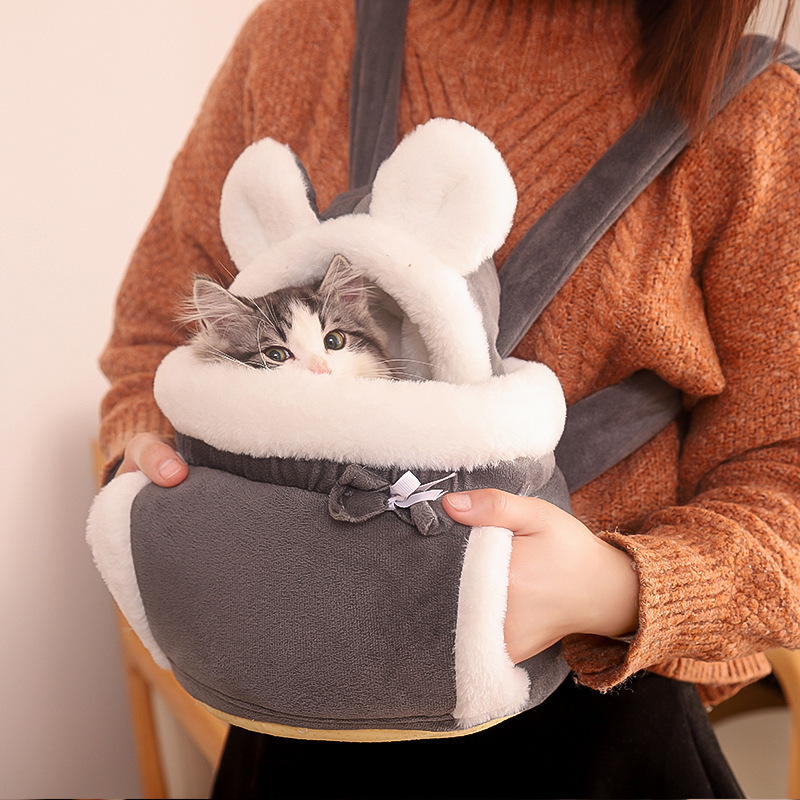 Warm Pet Carrier Bag Small Cat Dogs Backpack Winter Plush Pets Cage For Outdoor Travel Hanging Load-bearing Chest Pet 6kg Bags 1