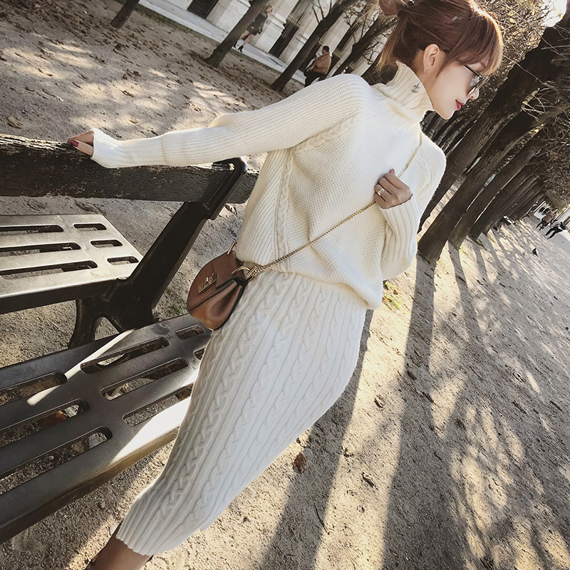 Twist Knitted 2 Piece Set Women Long Sleeve Turtleneck Pullover Sweater + Split Pencil Skirt Set Lady Runway Knitting Skirt Suit