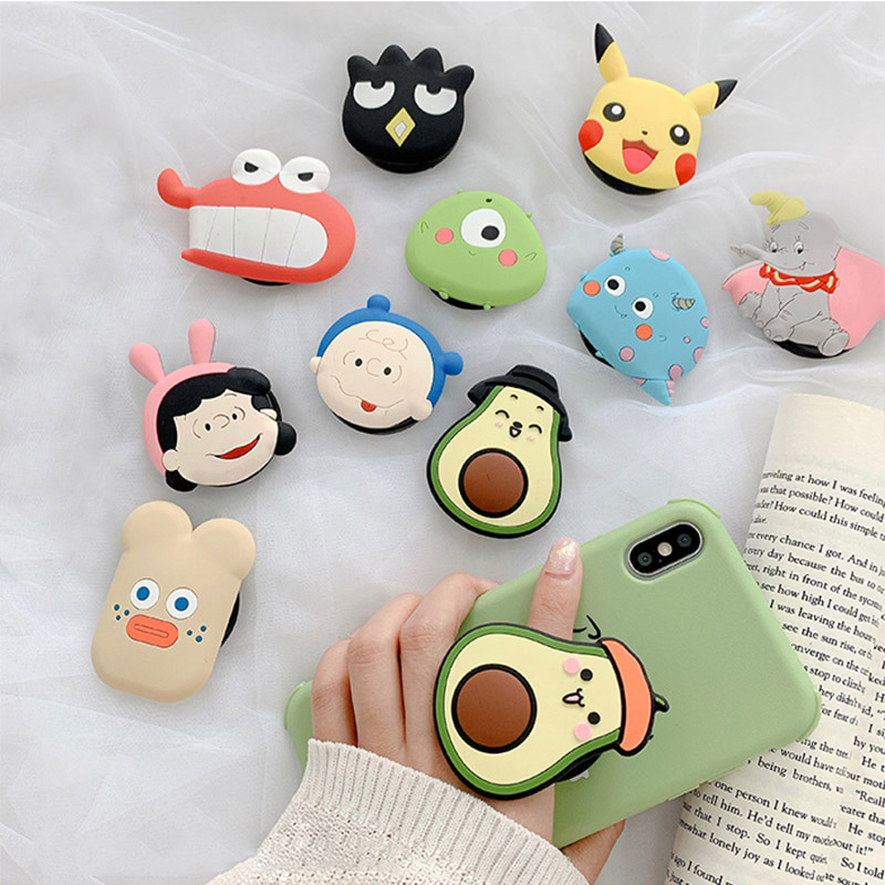 Cute Cartoon Folding Stand For Mobile Phone Holder For IPhone X 8 7 Plus For Samsung For Huawei Phone Case Animal Grip Kichstand
