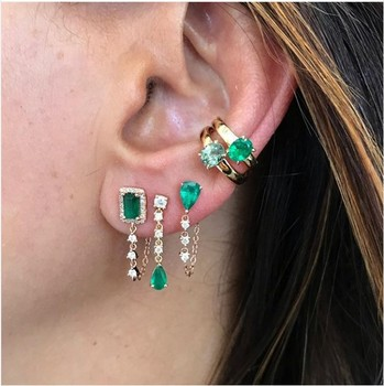 tear drop cz tassel chain earring colorful birthstone cubic zirconia Gold color Gorgeous stunning multi color stone jewelry