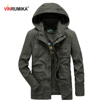 New 2020 Spring Autumn Men's Europe Military Casual Style High Quality 100% Cotton Khaki Army Hooded Jacket Coat Man Black Coats