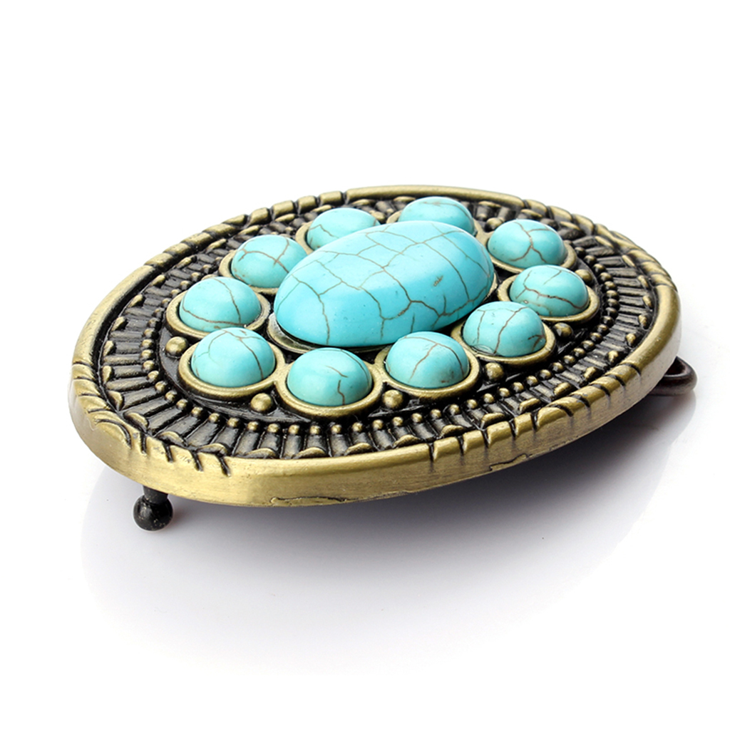 Women Blue Belt Buckle Mens Vintage Turquoise Stone Belt Buckle Waistband Diy Accessory Buckle