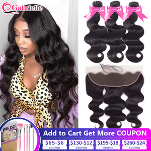 Gabrielle Hair Ear to Ear 13x4 Frontal with Bundles Brazilian Human Hair Body Wave Bundles with Lace Frontal Remy Hair Extension