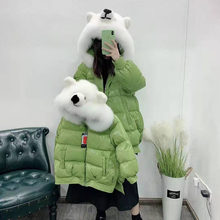 Down jackets Parent-child outfit women coat winter hooded with natural real fox fur collar The bear hat thick warm parka(China)
