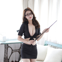 Sexy Uniform Bag Hip Ol Secretary Teacher Passion Work Suit Open chest Night Club Role Playing Factory Direct Selling