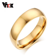 Vnox Smooth 4mm Ring for Women Classic Stainless Steel Wedding Engagement Jewelry