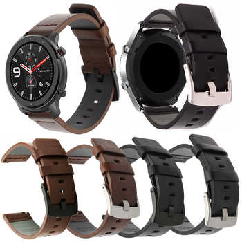 Lederband Für Xiaomi Amazfit Bip/Stratos 2/Tempo/GTS GTR 42MM 47MM Band Für huawei Uhr GT 2 Bands Für Galaxy aktive 2 40 42