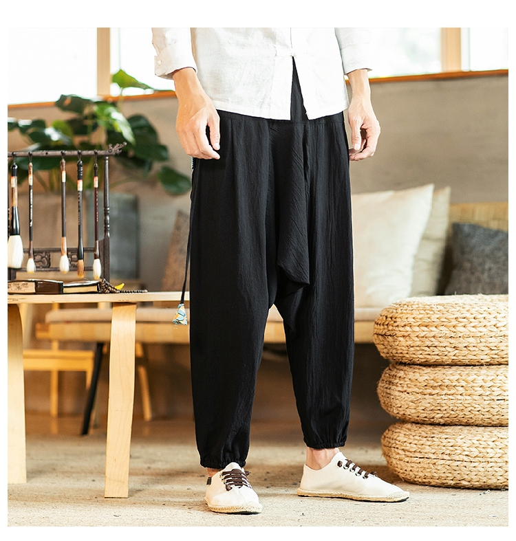 Sinicism Store Chinese Cross-Pants Men 2020 Autumn Oversize Fashion Mens Patchwork Button Pants Male Wide-legged Loose Pants 49