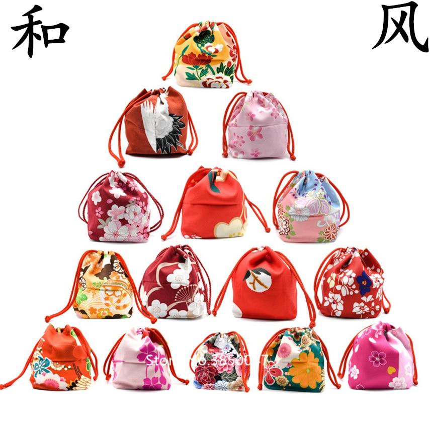 Handbag Kimono Japanese Style Yukata Kawaii Girls Women Bag Vintage Floral Haori Drawstring Bucket Zephyr Gift Party Accessories