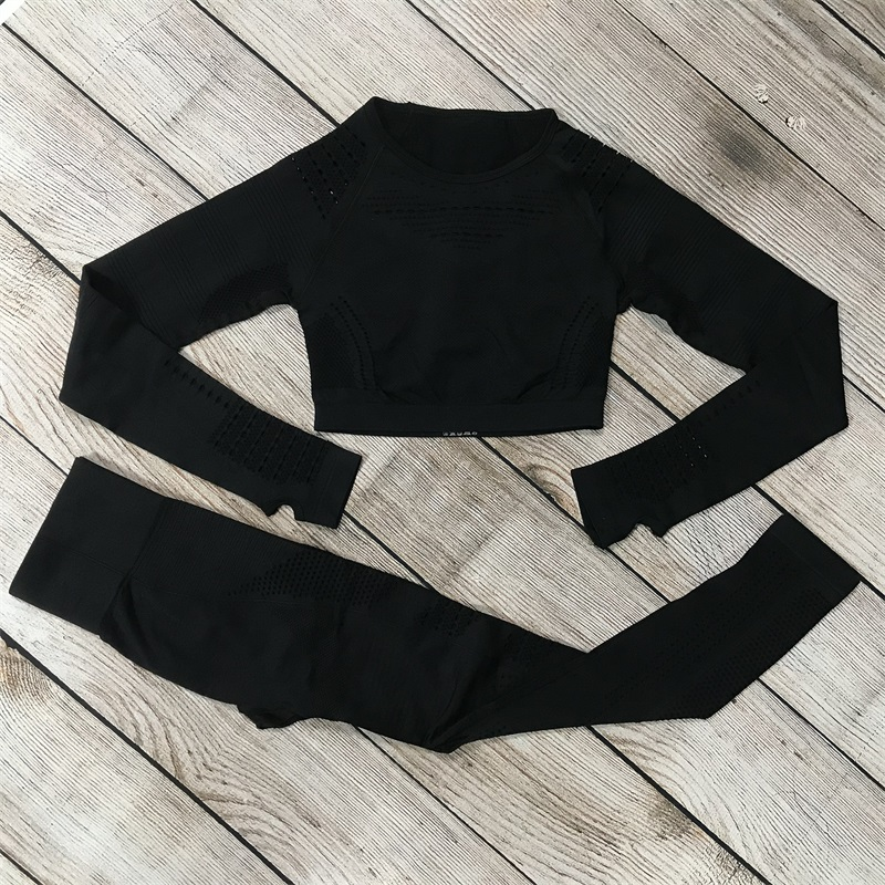 7 Women Seamless Gym Sets High Waist Gym Mesh Leggings Shirts Suit Long Sleeve Fitness Workout Sports Running Thin Sport Sets (3)