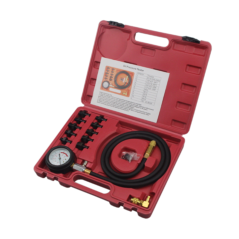 12 piece Engine Oil Pressure Test Kit Tester Car Garage Tool Low Oil Warning Devices