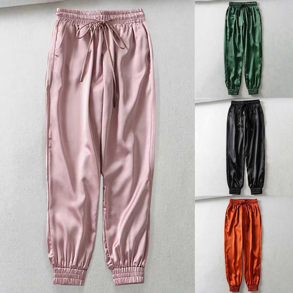Sfit mulheres verão cetim calças de carga feminina europa cordão solto casual esporte pant mulheres bf corredores streetwear carga calças 2019