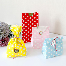 Новинка бумага сумка мини подставка вверх красочный горошек точка сумки 18x9x6см благосклонность открытый верх подарок упаковка бумага угощение подарок сумка оптовая продажа