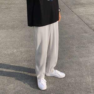 Straight Pants Trousers Mens Pleated Elastic-Waist Ice-Silk Loose Japanese Men Streetwear