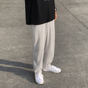 Pleated Straight Pants Men's Fashion Solid Color Elastic Waist Casual Pants Men Streetwear Loose Japanese Ice Silk Trousers Mens