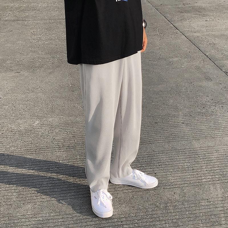 Plisowane proste spodnie moda męska jednolity kolor w pasie spodnie na co dzień mężczyźni Streetwear luźny japoński lodowy jedwab spodnie męskie