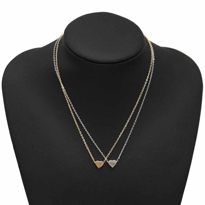 2019 חדש זהב כסף מצופה קטן לב שרשראות Bijoux נשים קולרים תכשיטים בריח תליון שרשרת מתנות מכירות