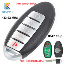 KEYECU для Nissan Pathfinder Murano Smart дистанционного ключа автомобиля 5 Кнопка 433,92 МГц ID47 чип FCC# KR5S180144014 Cont#: S180144008
