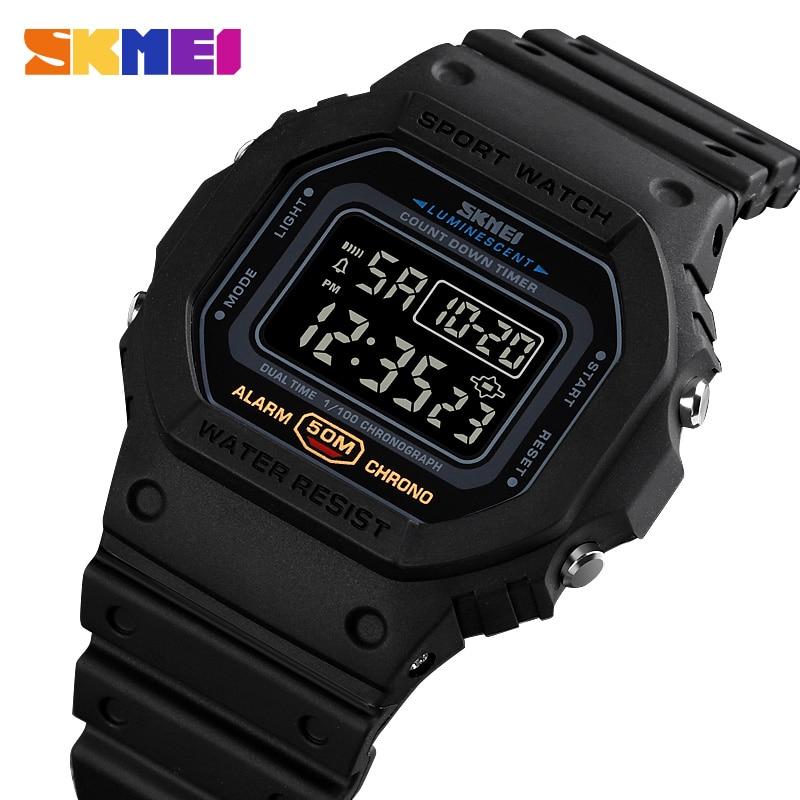 Skmei multifuncional relógio digital do esporte dos homens 2 tempo contagem para baixo relógios de pulso dos homens moda retro masculino reloj hombre 1628