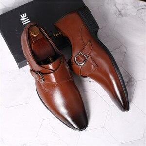 Image 4 - 45 46 47 48 erkekler İş elbise ayakkabı Retro Patent deri Oxford ayakkabı erkek şık zarif Metal toka düğün ayakkabı