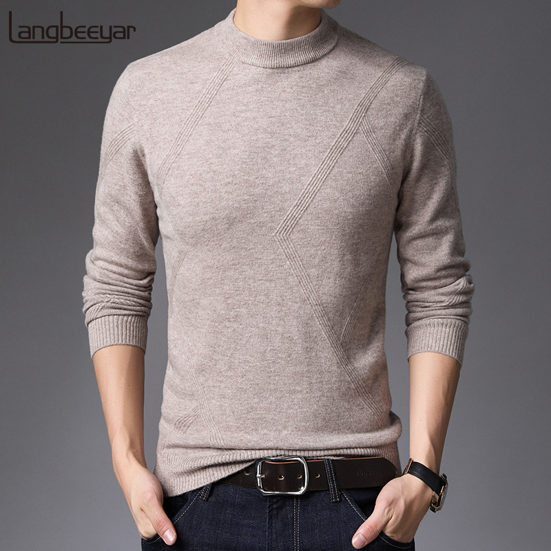 100% Wool 2019 New Fashion Brand Sweater Mens Pullover Half Turtleneck Slim Fit Jumpers Knitred Autumn Casual Men Clothes