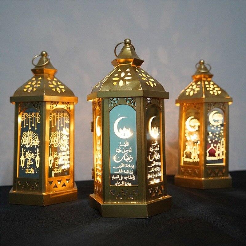 2020 Happy Eid Mubarak Metal LED Lights Festival Lantern Ramadan Decoration For Home Islamic Muslim Party Decor Supplies