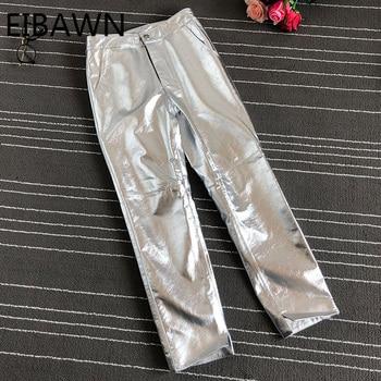 2020 New Style Leather Pants Women Stacked Girl Aesthetic Regular Zipper Genuine Punk Vintage Streetwear