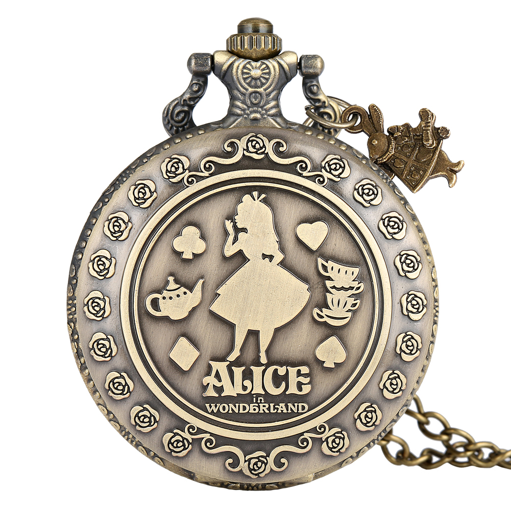 Alice In Wonderland Pocket Watch Girl Pattern Cover Clock Women Practical Alloy Slim Chain Pendant Watches Relogio De Bolso