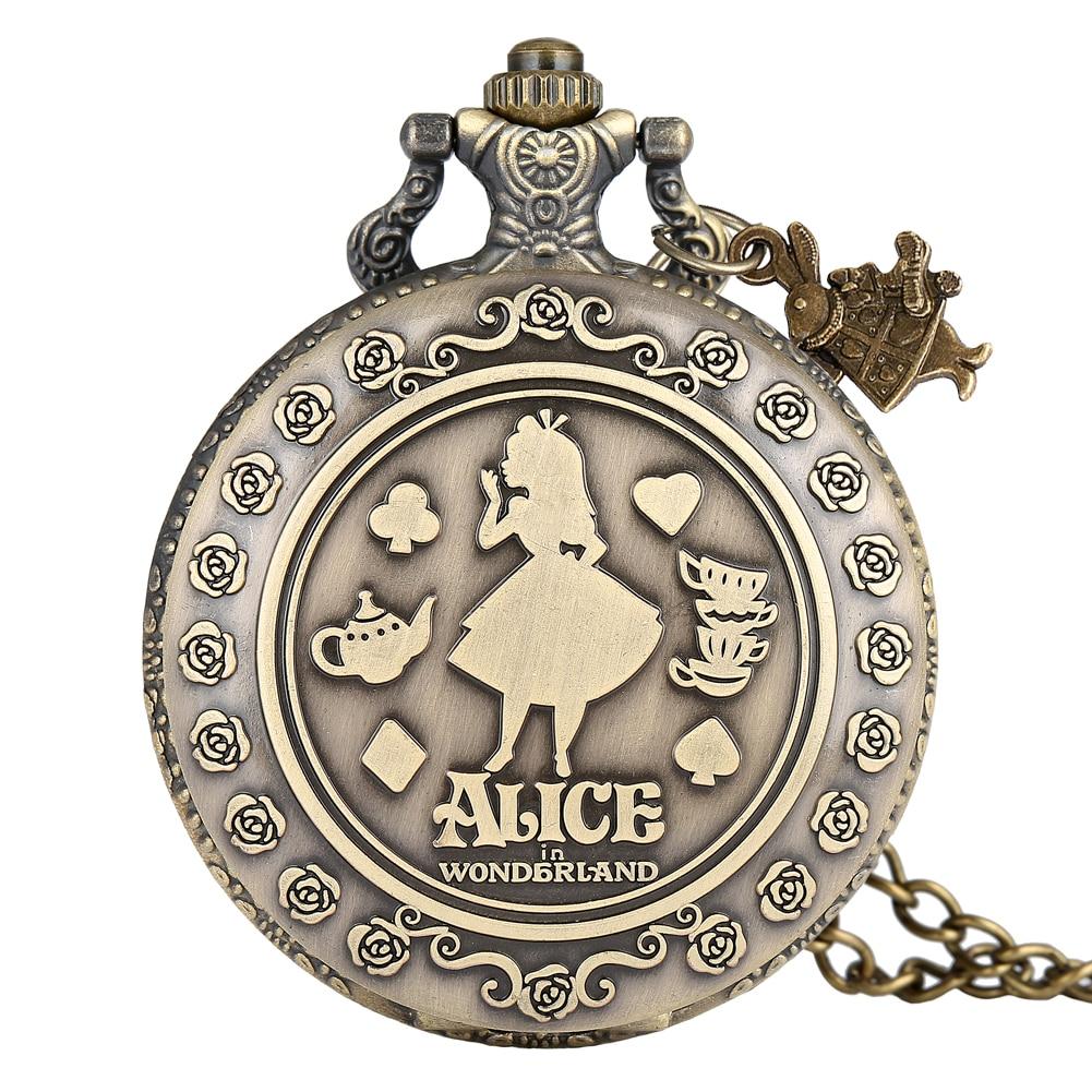 Alice In Wonderland Pocket Watch Girl Pattern Cover Clock Women Practical Alloy Slim Chain Pendant Watches Relogio De Bolso