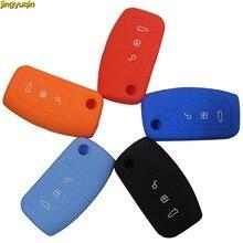 Jingyuqin 3 botones plegable de silicona remoto llave de coche cubierta de la caja del protector de llavero para Ford Focus Fiesta C Max Ka estilo