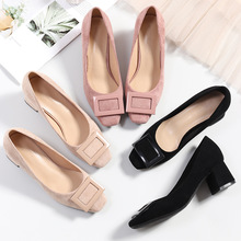 High Heels Women Elegant Ladies Shoes Square Heels Office Lady Pumps Square Toe Concise Fashion Shoes Zapatos De Mujer G0002 2020 hot new women shoes pu sequined high heels zapatos mujer fashion sexy high heels ladies shoes women pumps side zipper pumps