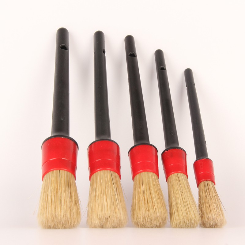 5PCS Multifunction Cleaner Brush Set Natural Boar Hair Detail Brush Auto Detailing Brush For Car 2020 New Product