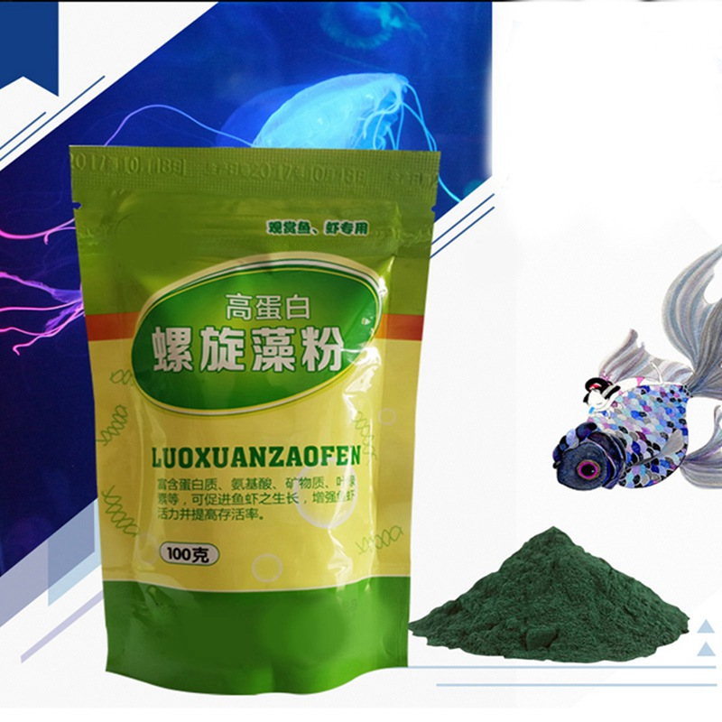 50/100g Ornamental Shrimp Open Feed Algae Fish Forages Spirulina Powder bottle Healthy Ocean Nutrition Fish Food Q1 image