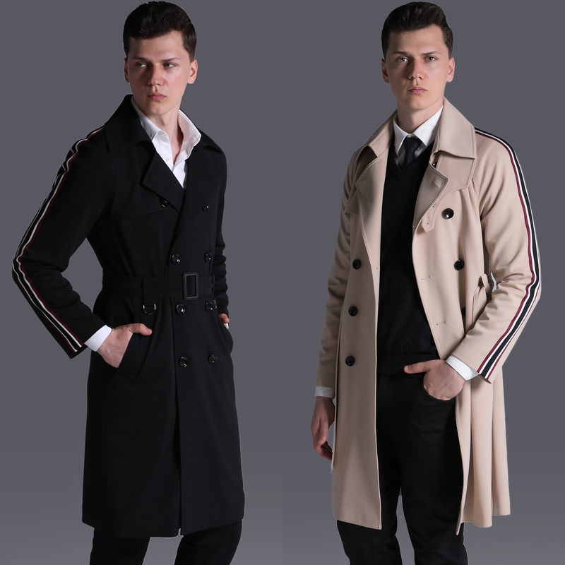 OLN Long Style Men Trench Coat Luxury Double Breasted Ribbon Mens Jackets And Coats Men Windbreaker Plus Size 5XL 6XL