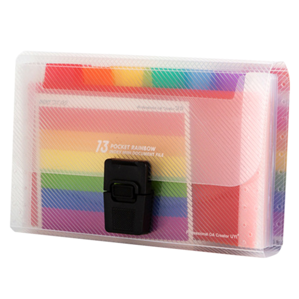 Storage Receipt Document Organizer Buckle 13 Pockets File Folder Office A6 Accordion PP Expandable School Rainbow Innner