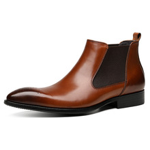 Fashion Business Personality High Top Ankle Boots Men Pointed Toe Dress Boots Genuine Leather Slip-on Work Boots Shoes цена 2017