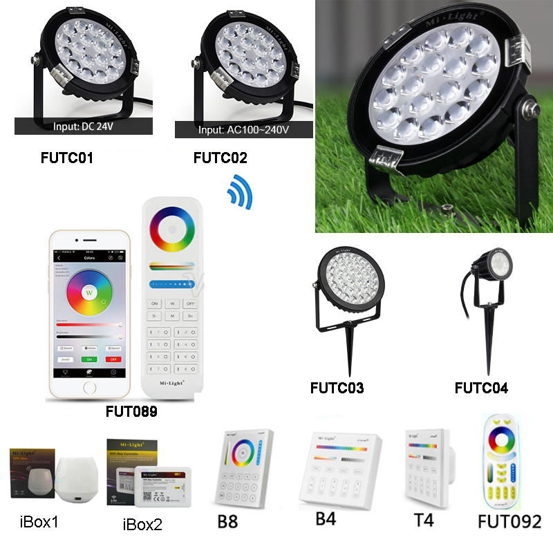 Miboxer 6W 9W 15W RGB+CCT Led Lawn Light IP65 Waterproof 24V 110V 220V Outdoor Garden Light FUTC01/FUTC02/FUTC03/FUTC04