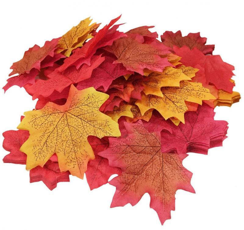 Искусственные кленовые листья для рождественских украшений, имитация дома, осенние листья для дома, имитация свадебной вечеринки, поддельн...