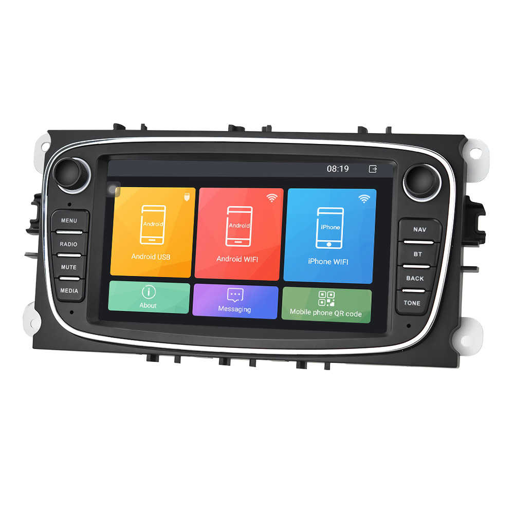 """Hikity 2din Auto Radio 7 """"Mirror Link Android Speler Gps Wifi Bluetooth Canbus Voor Ford Focus Mondeo C-MAX S-MAX galaxy Ii Kuga"""
